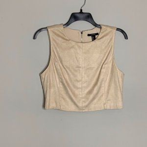 Forever 21 Tan Faux Suede Crop Top L